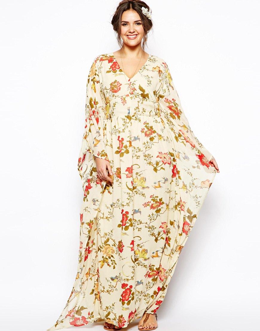 Asos Kimono Maxi Dress In Bird Print in Natural | Lyst