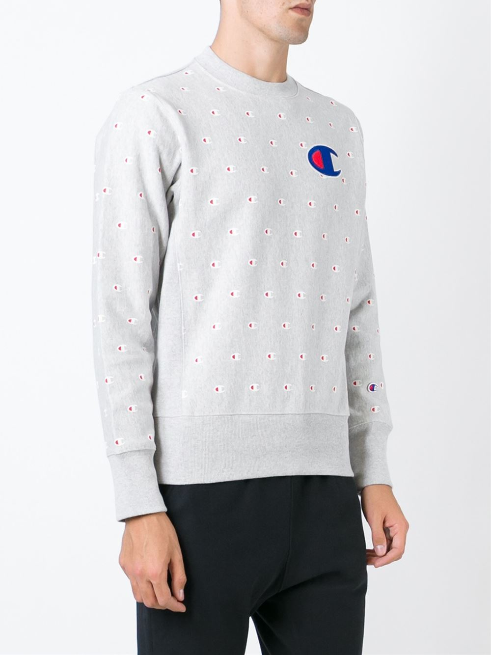 Champion Logo Sweatshirt in Gray for Men | Lyst
