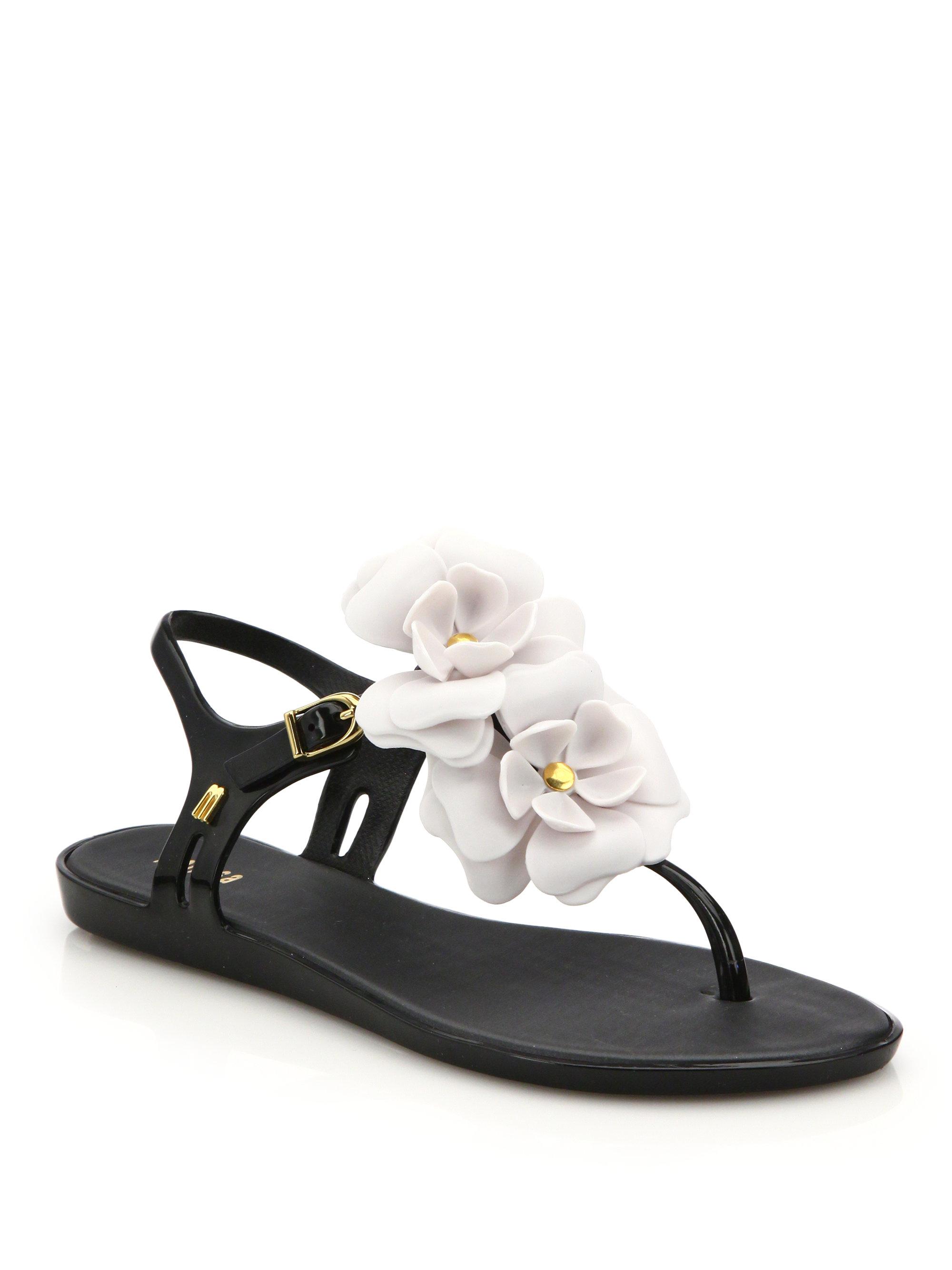 175039b0b6e4d7 Lyst - Melissa Solar Garden Ii Rose Sandals in Black