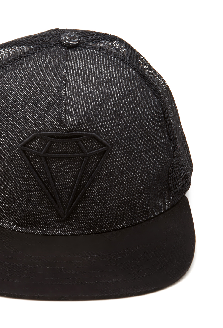 6ba14af3c39 ... new zealand forever 21 embroidered diamond snapback hat in black lyst  c00a5 57fee