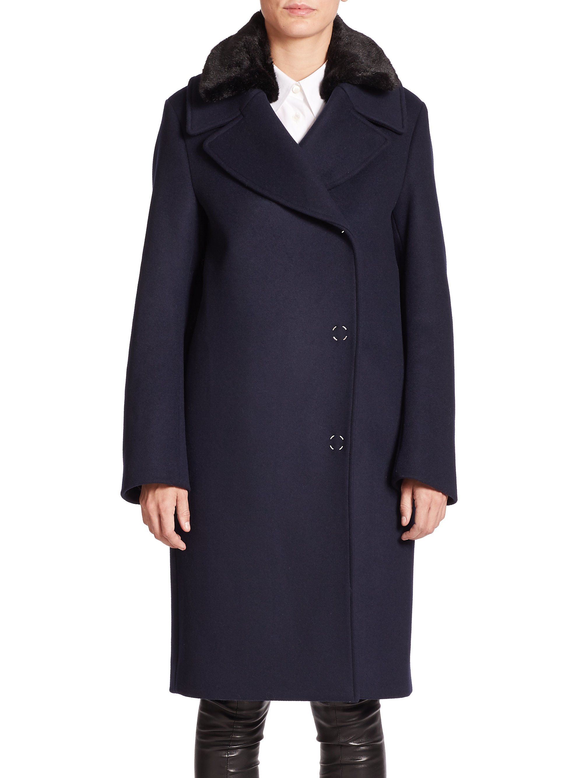 Acne studios Era Faux Fur-collar Wool Coat in Blue | Lyst