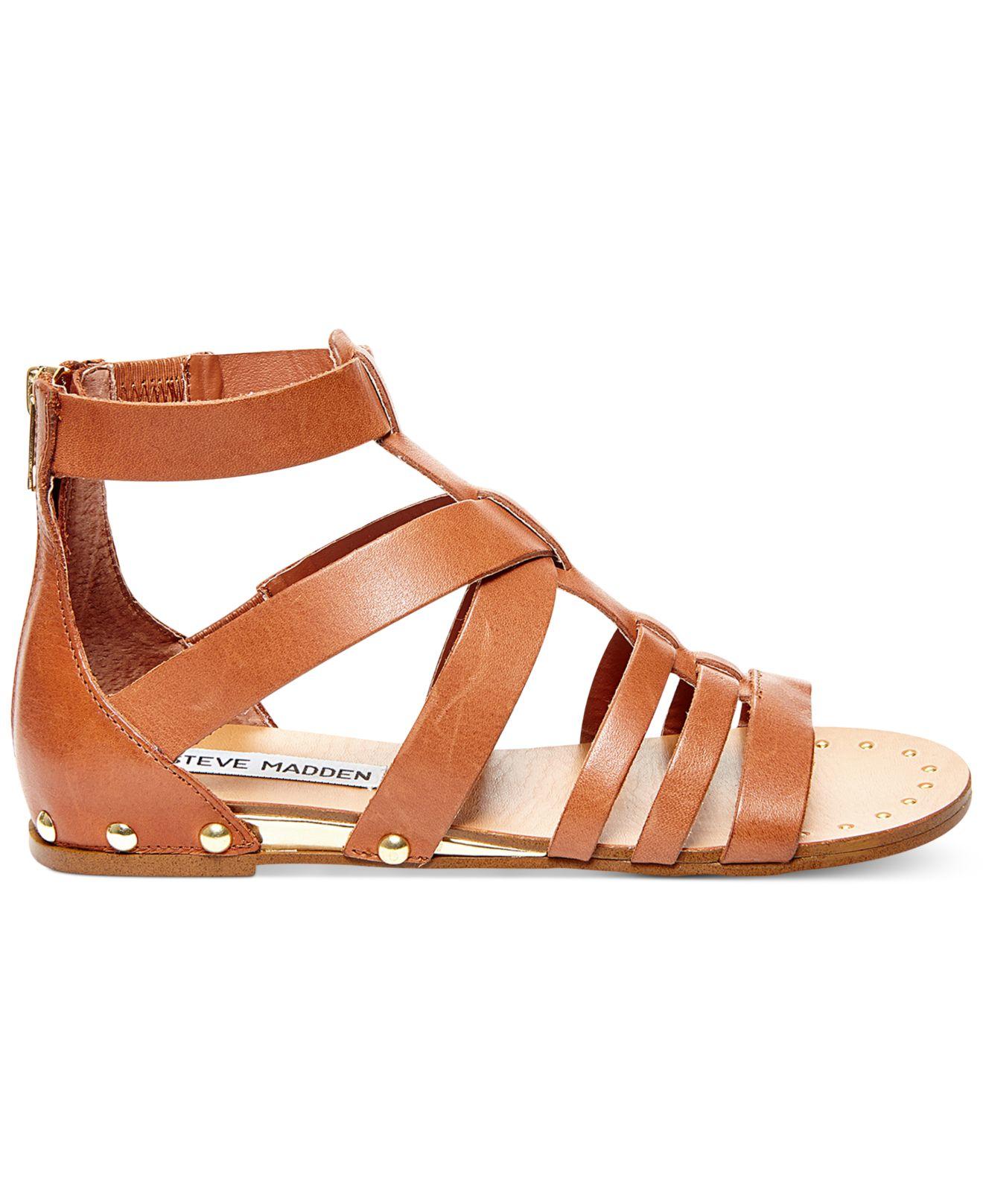 steve madden drastik leather gladiator sandals in brown lyst. Black Bedroom Furniture Sets. Home Design Ideas
