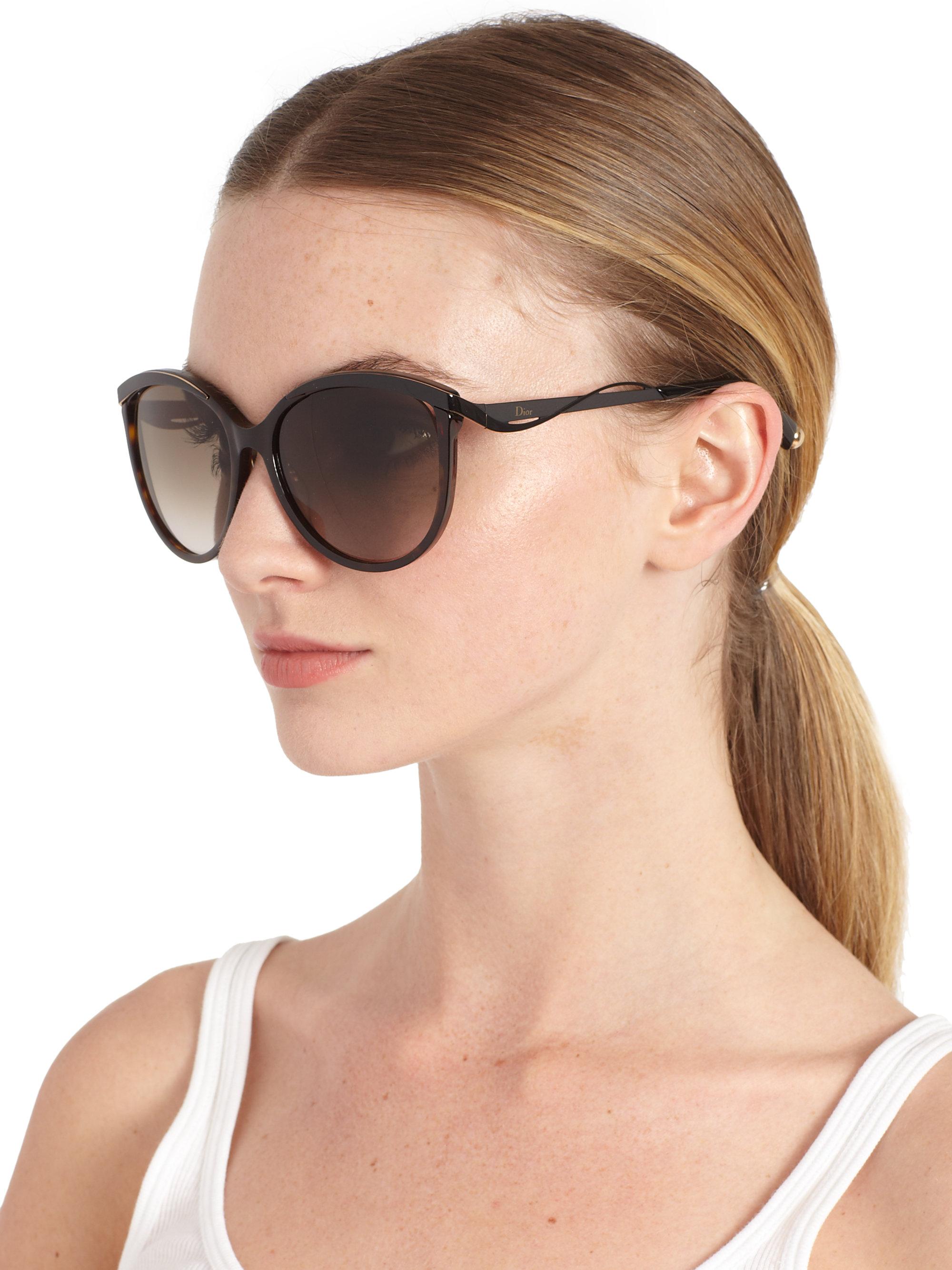 Lyst Dior Oversized Cat S Eye Sunglasses In Black