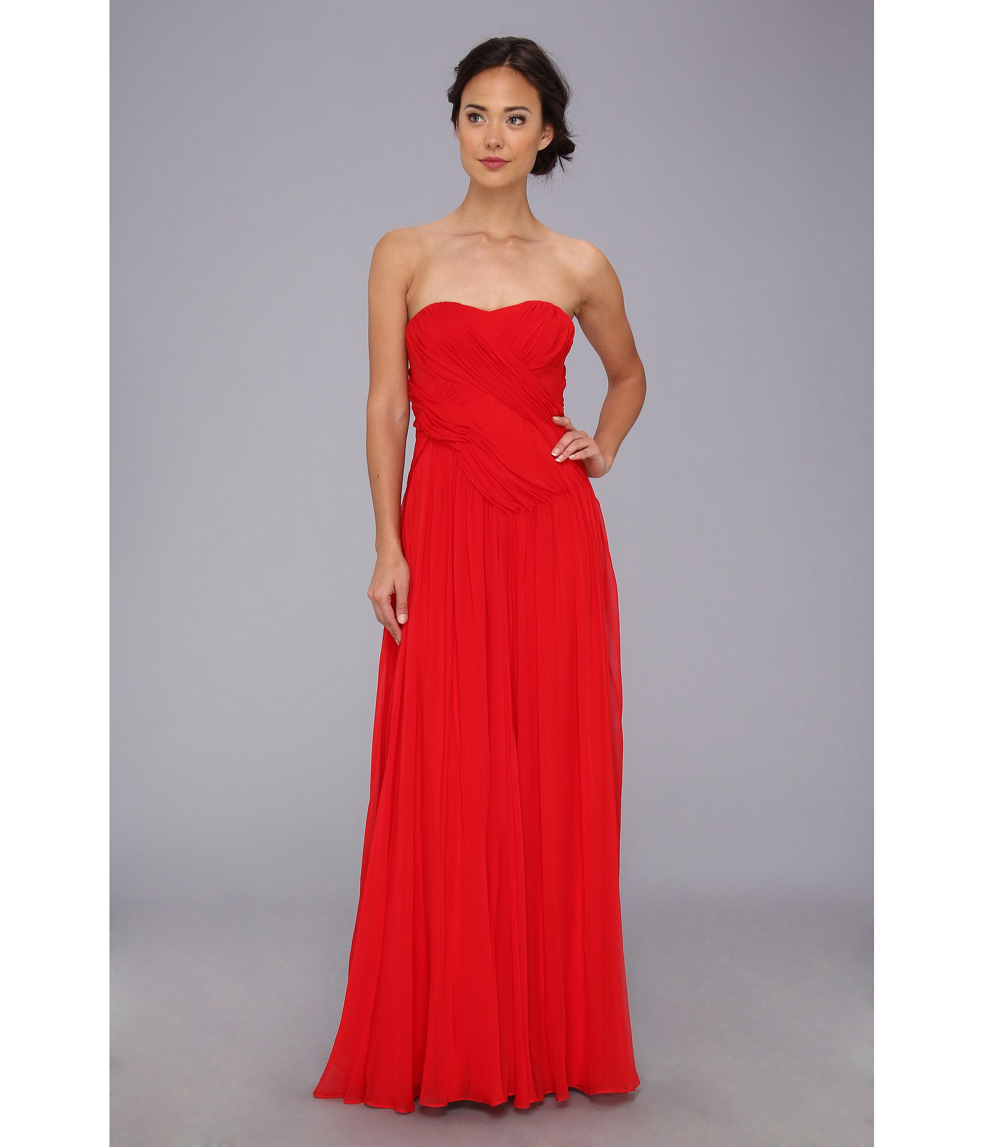 Badgley mischka Strapless Gown in Red  Lyst