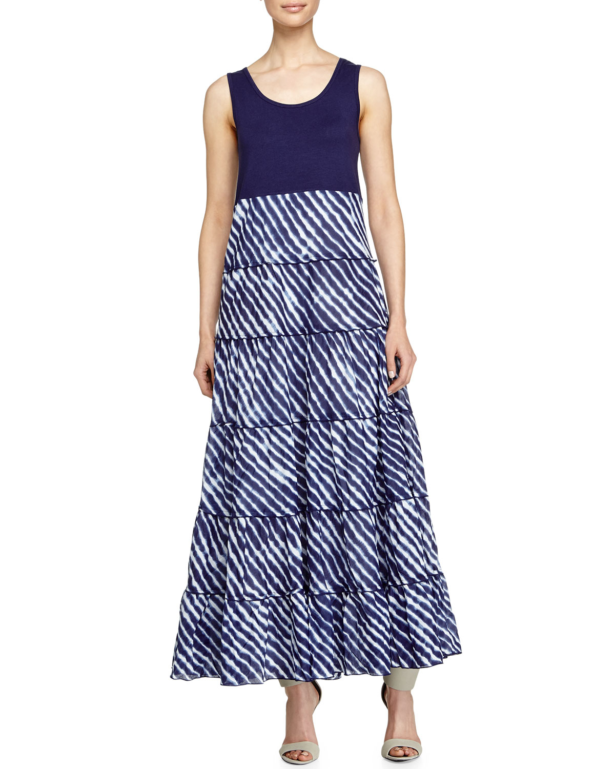 Neiman marcus Printed Off-the-shoulder Maxi Dress in Blue ...