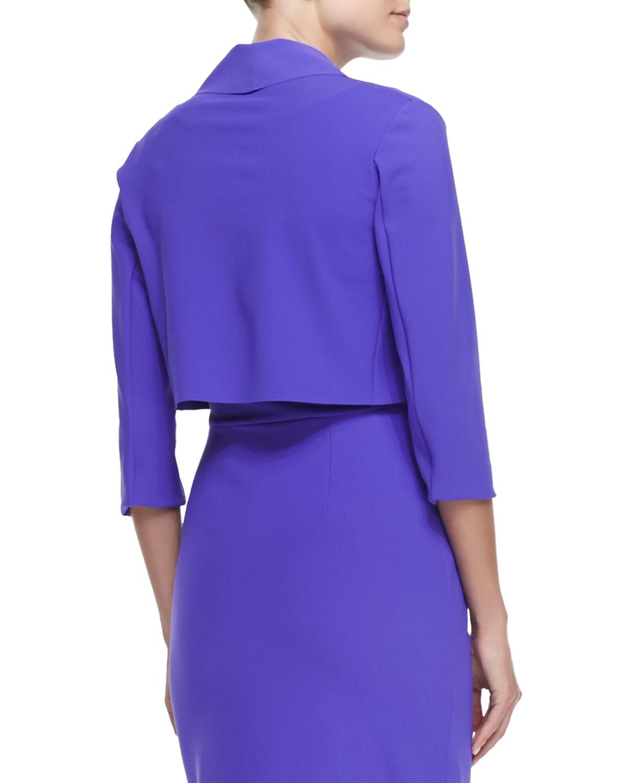 lyst la petite robe di chiara boni annalaura draped jacket in blue. Black Bedroom Furniture Sets. Home Design Ideas