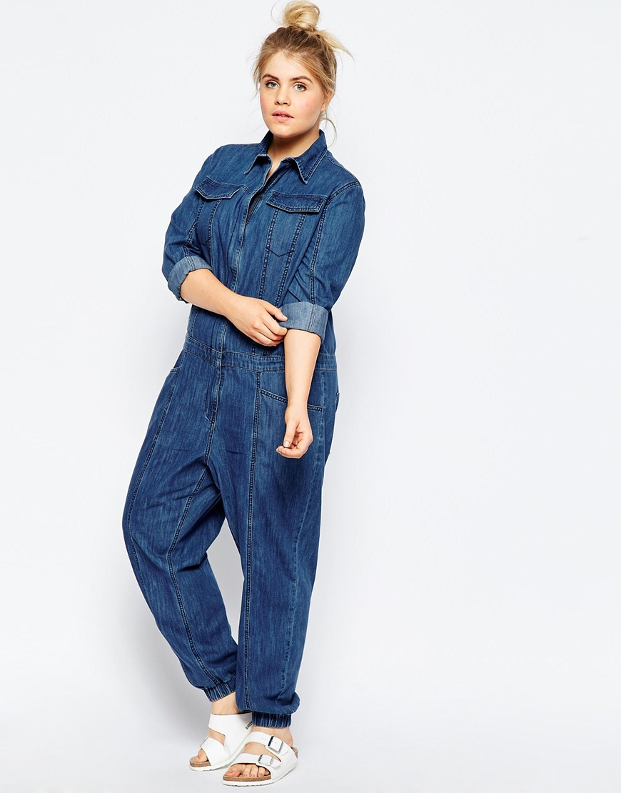 d40b0f104d7 Lyst - ASOS Curve Denim Boilersuit With Zip Front in Blue