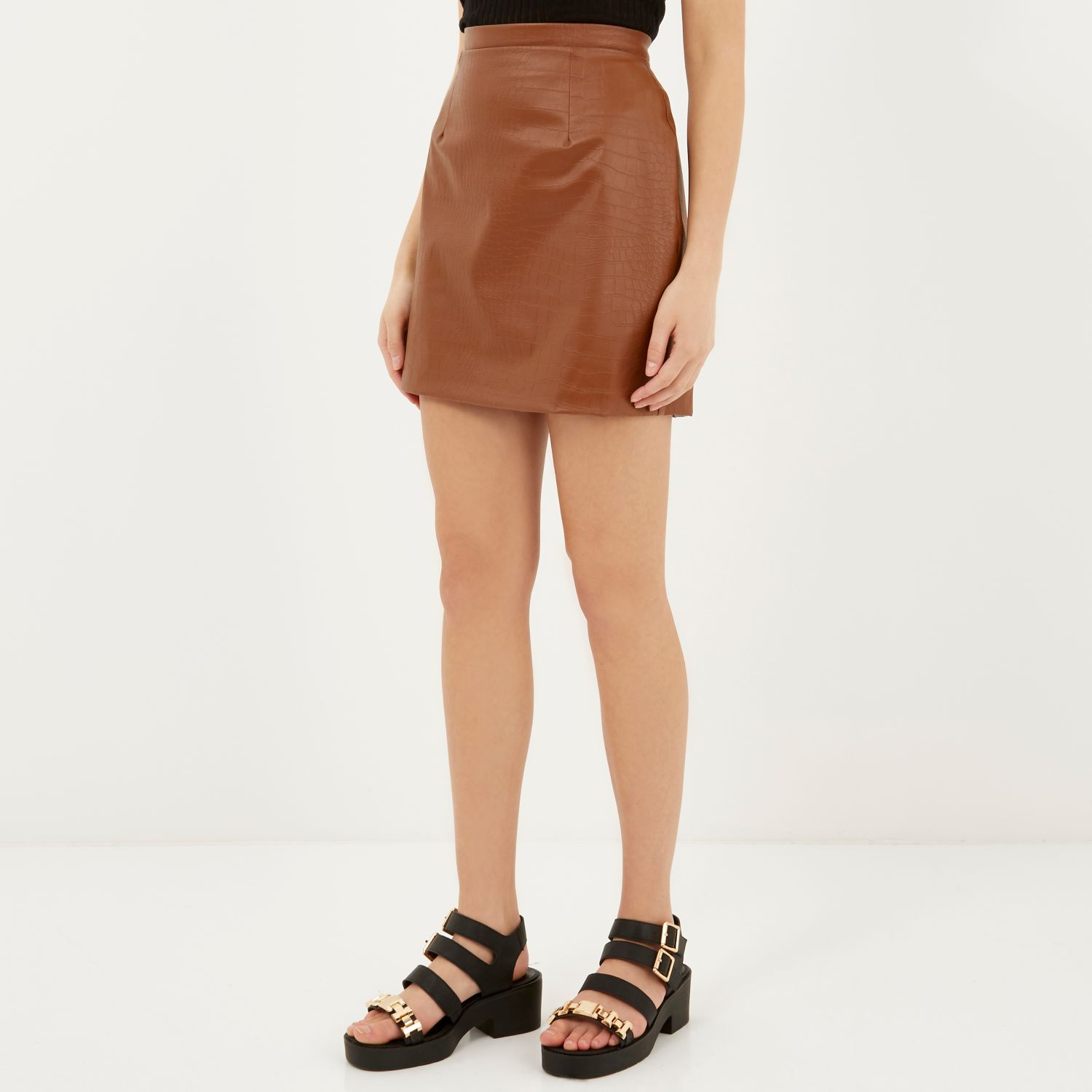 River island Brown Leather-look Mock Croc A-line Skirt in Brown | Lyst