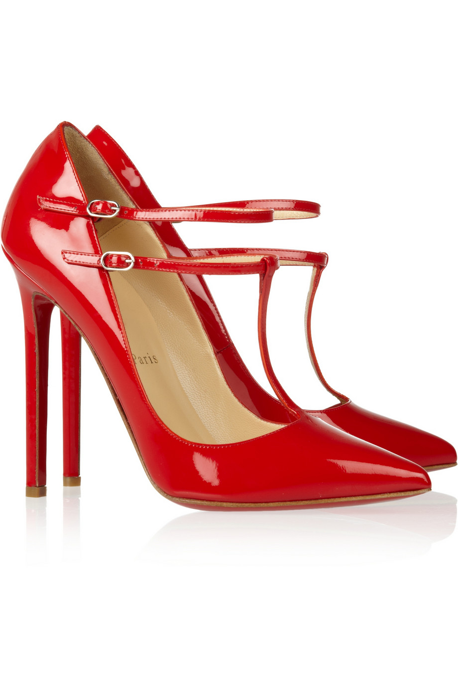Buy Christian Louboutin Women's Red V Neck 120 Patent-Leather Pumps,  starting at $435. Similar products also available. SALE now on!