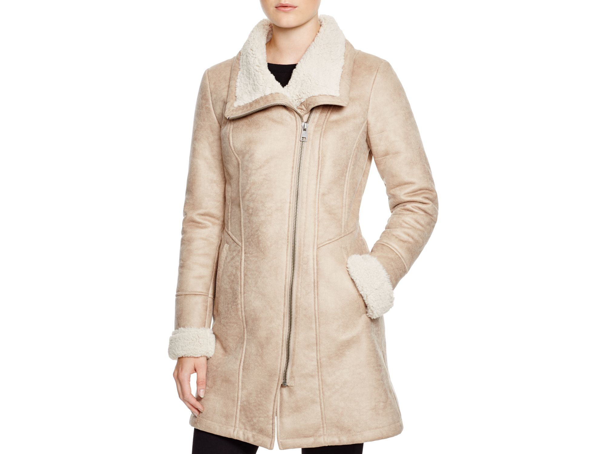 7 for all mankind Faux Shearling Coat in Natural | Lyst