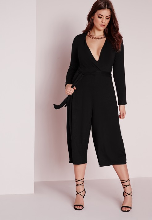 8d6326b7f1a Lyst - Missguided Plus Size Jersey Wrap Plunge Jumpsuit Black in Black