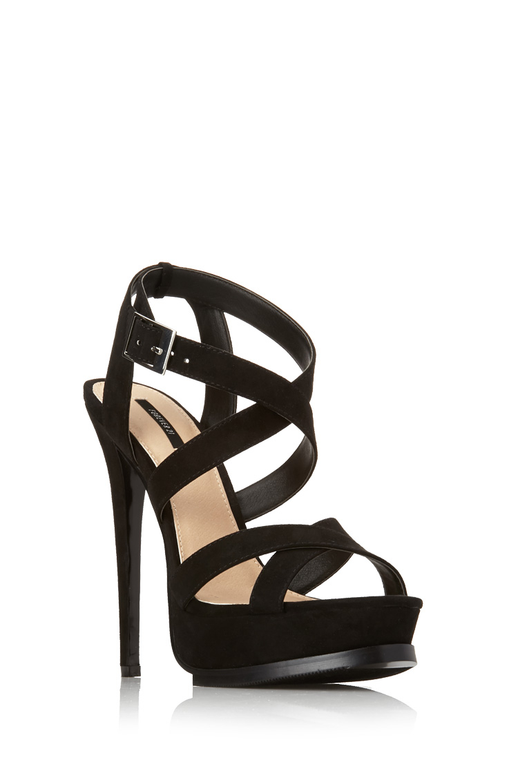 55b07f62cee Lyst - Forever 21 Strappy Platform Sandals in Black