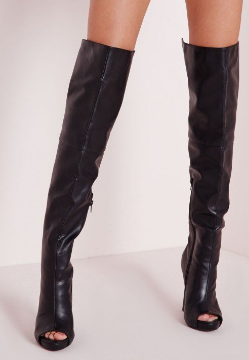 Lyst Missguided Faux Leather Thigh High Peep Toe Boots