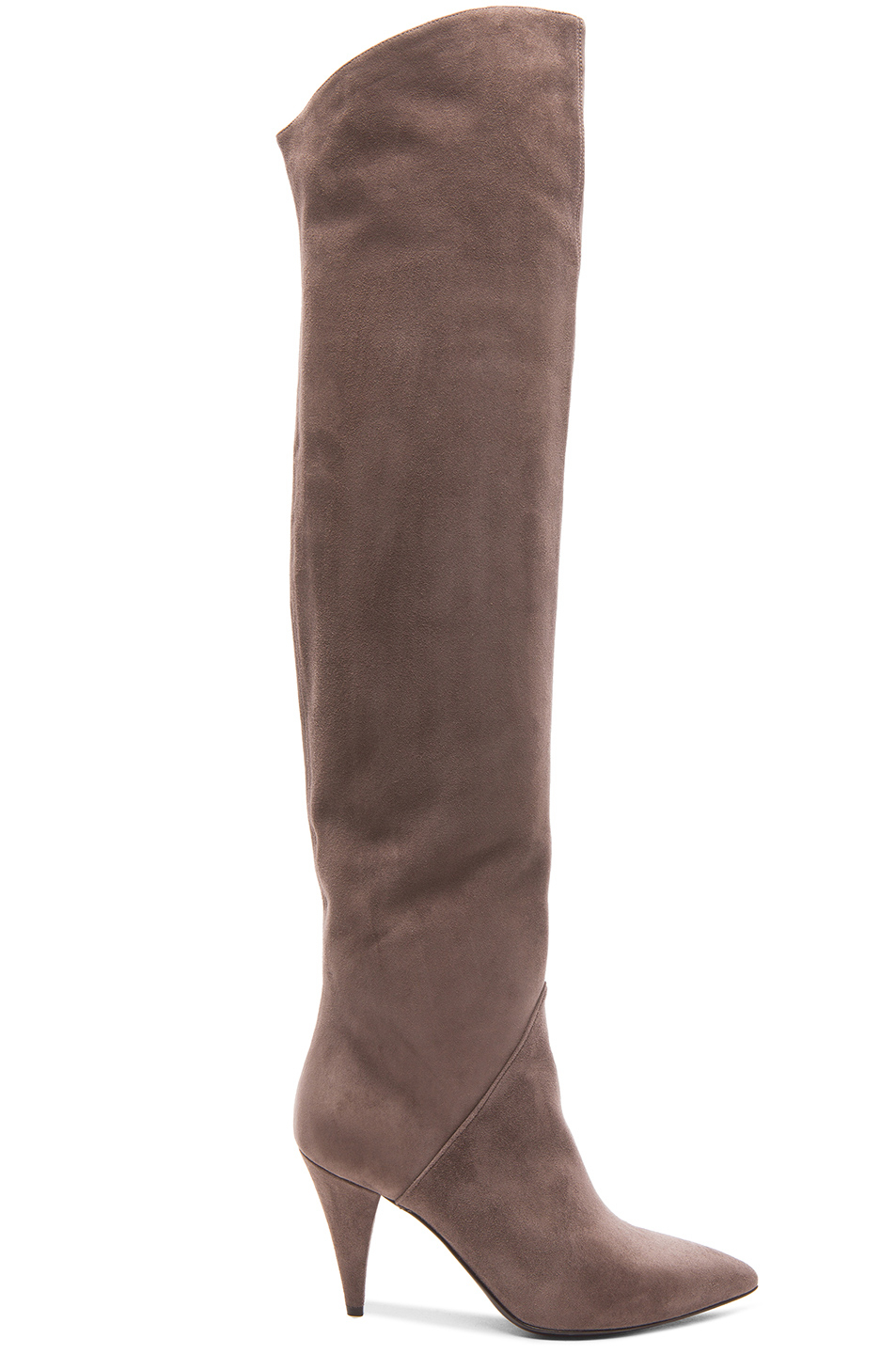 laurent thigh high cat suede boots in gray lyst