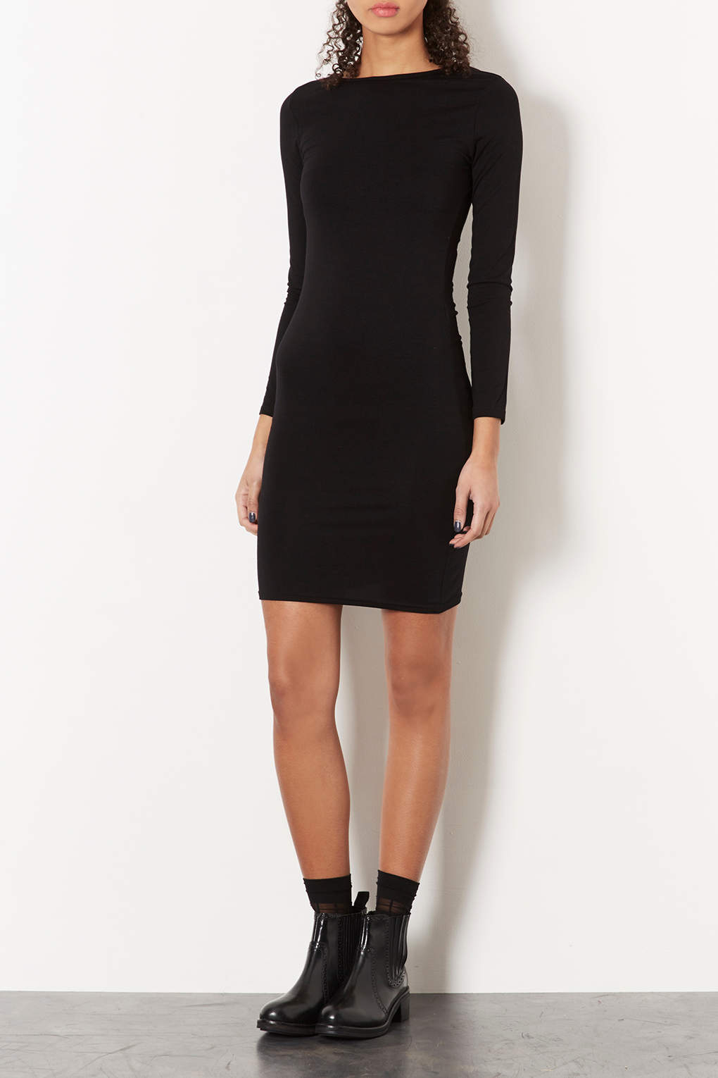 bc5e194a73e Lyst - TOPSHOP Tall Plain Mini Bodycon Dress in Black