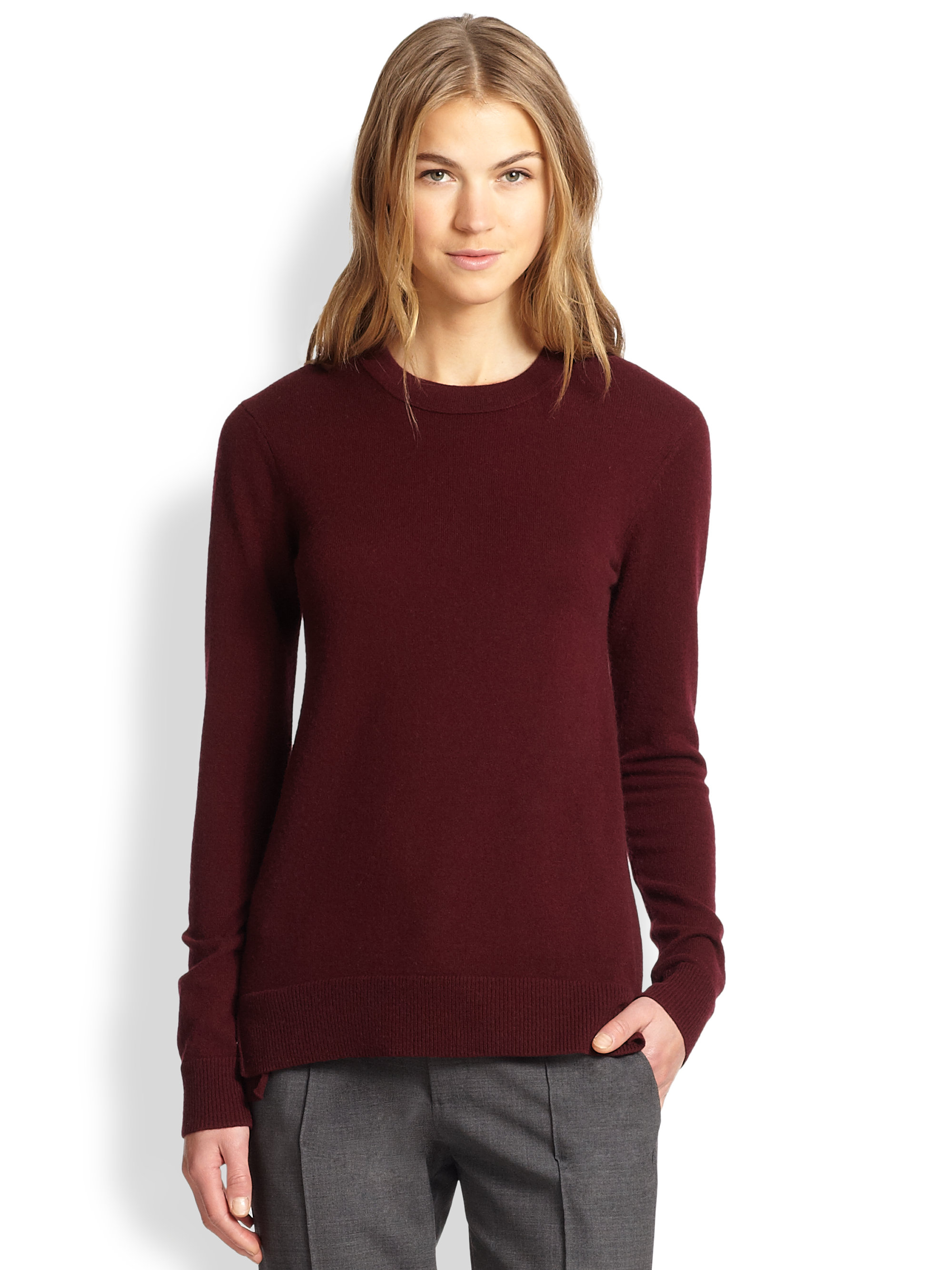 Vince Cashmere Overlay Crewneck Sweater in Red | Lyst