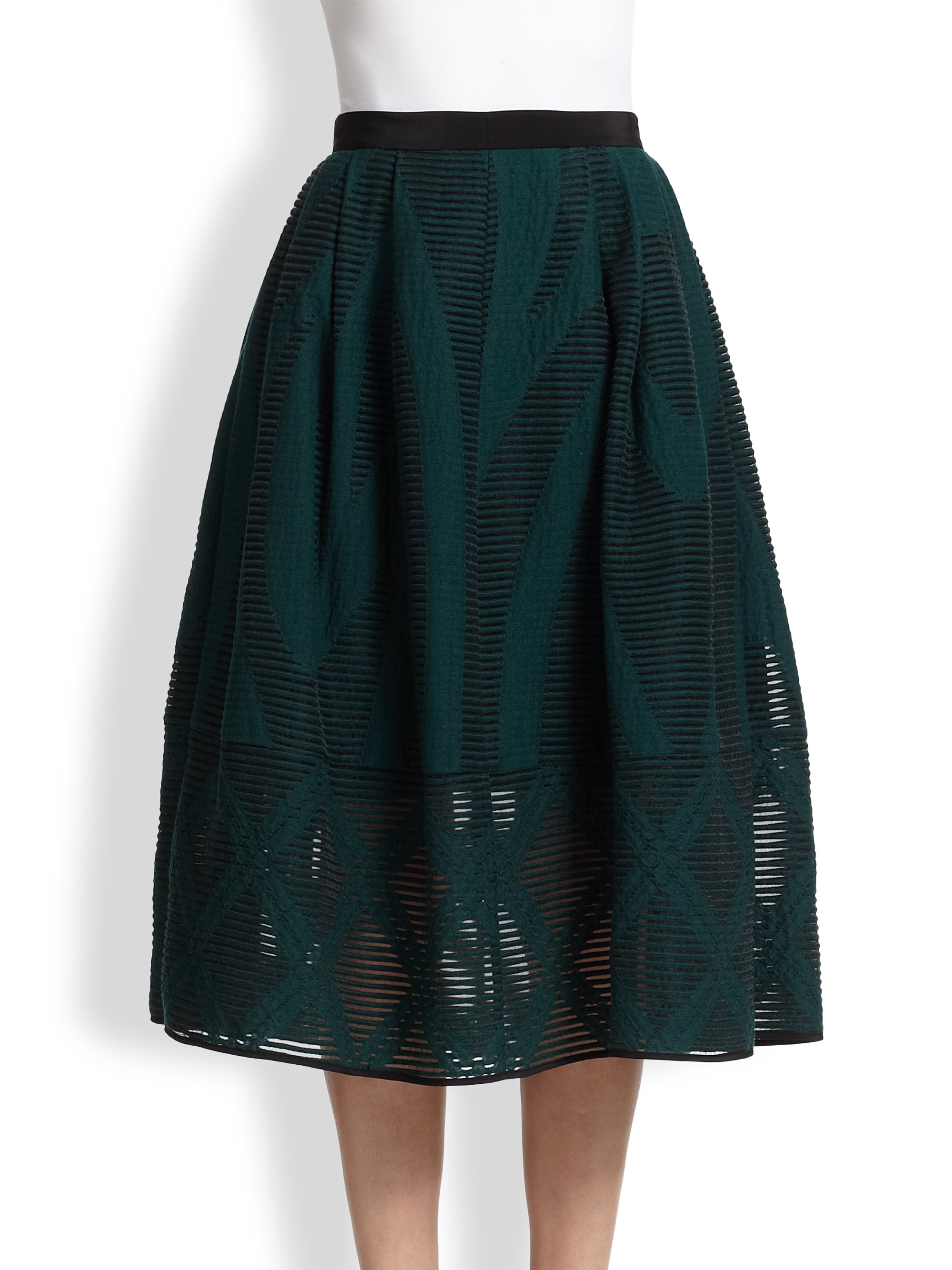 tibi abstract patterned sheer burnout midi skirt in green
