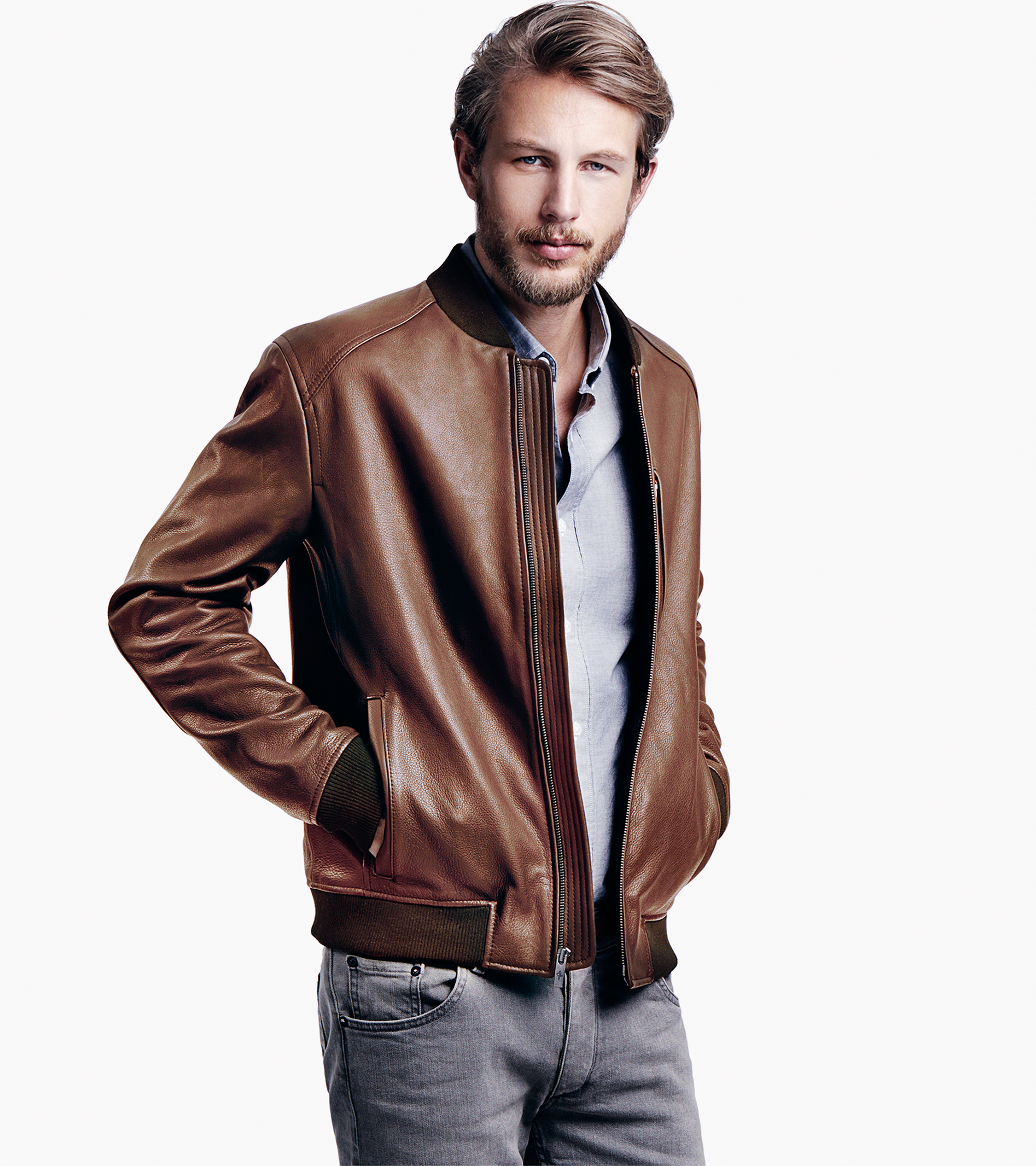 Cole haan Varsity Leather Baseball Jacket in Brown for Men | Lyst