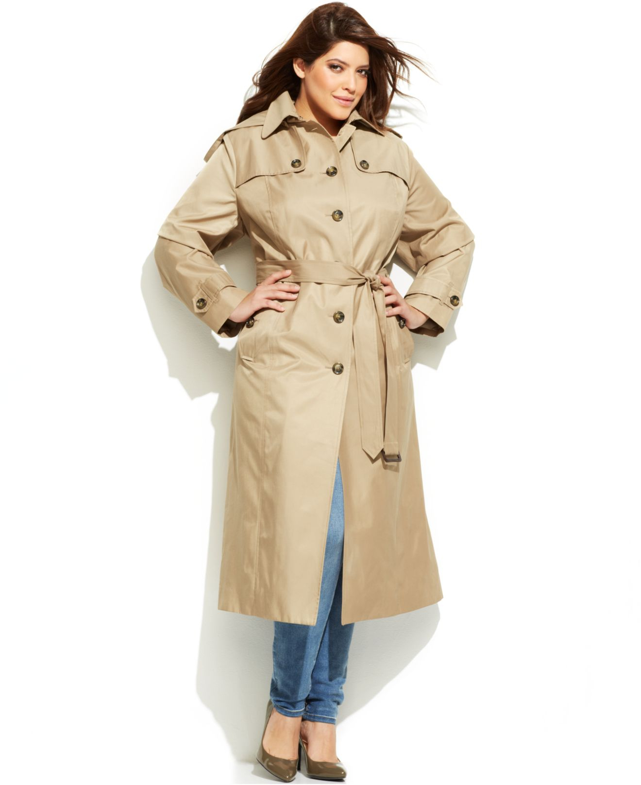 best sell outstanding features world-wide renown Women's Natural Plus Size Hooded Belted Maxi Trench Coat