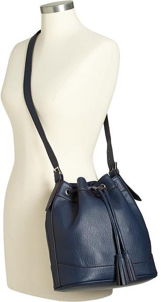 Old Navy Fauxleather Tasseled Bucket Bags in Blue (Navy)