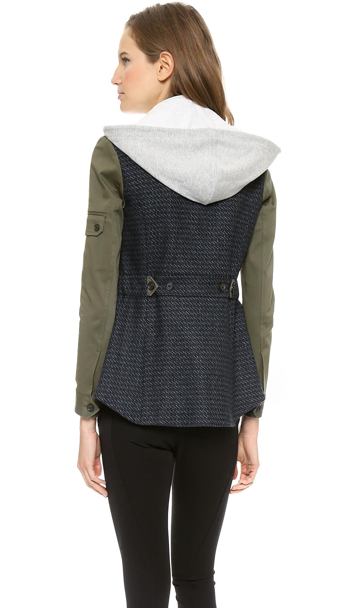 Veronica Beard Tweed Army Sleeve Jacket with Hoodie Dickey ...