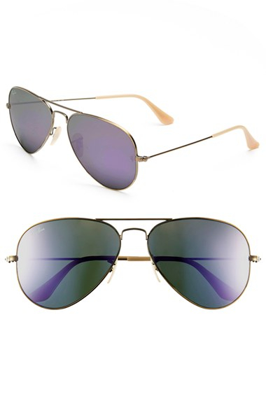 693e9984d2 Ray-ban   39 original Aviator  39  58mm Sunglasses - Bronze Ray-Ban Aviator  Large Metal Sunglasses - Demiglos Brushed Bronze Lilac Mirror ...