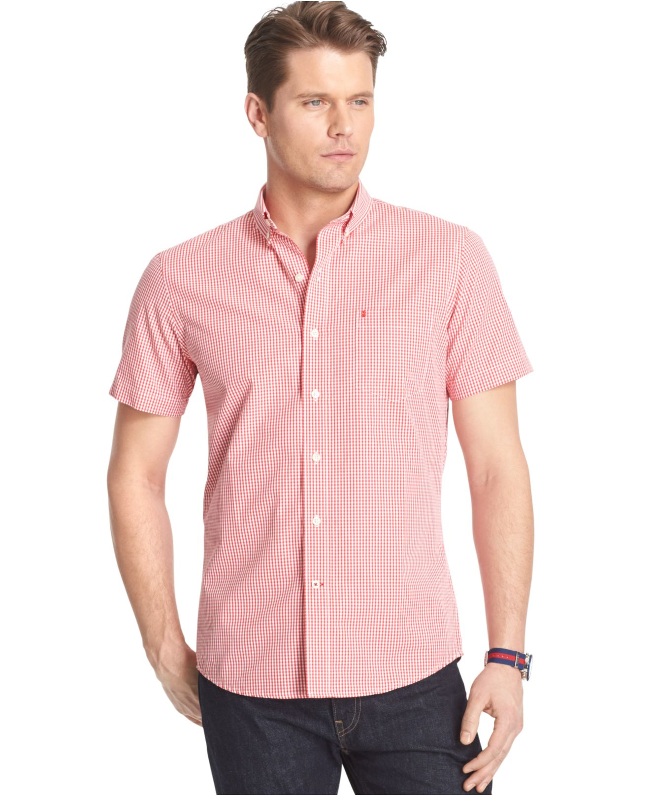 Lyst izod big and tall short sleeve gingham poplin shirt for Izod big and tall shirts