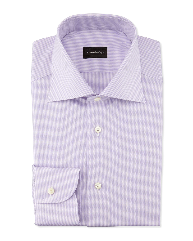 Ermenegildo Zegna Micro Graph Check Dress Shirt In Purple