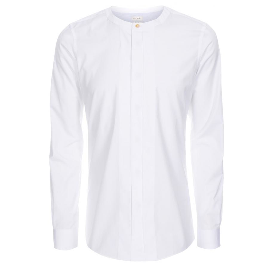 Paul smith Men's White Pleat-front Collarless Shirt in White for ...