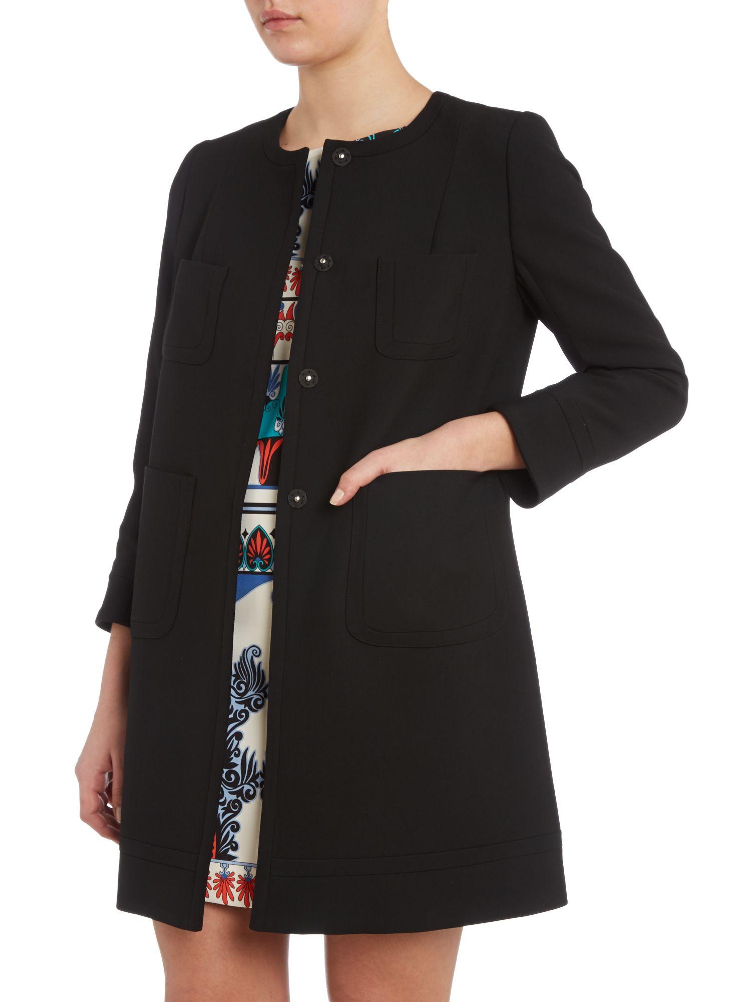 Tara Jarmon Round Neck Over Coat With Bracelet Sleeve In