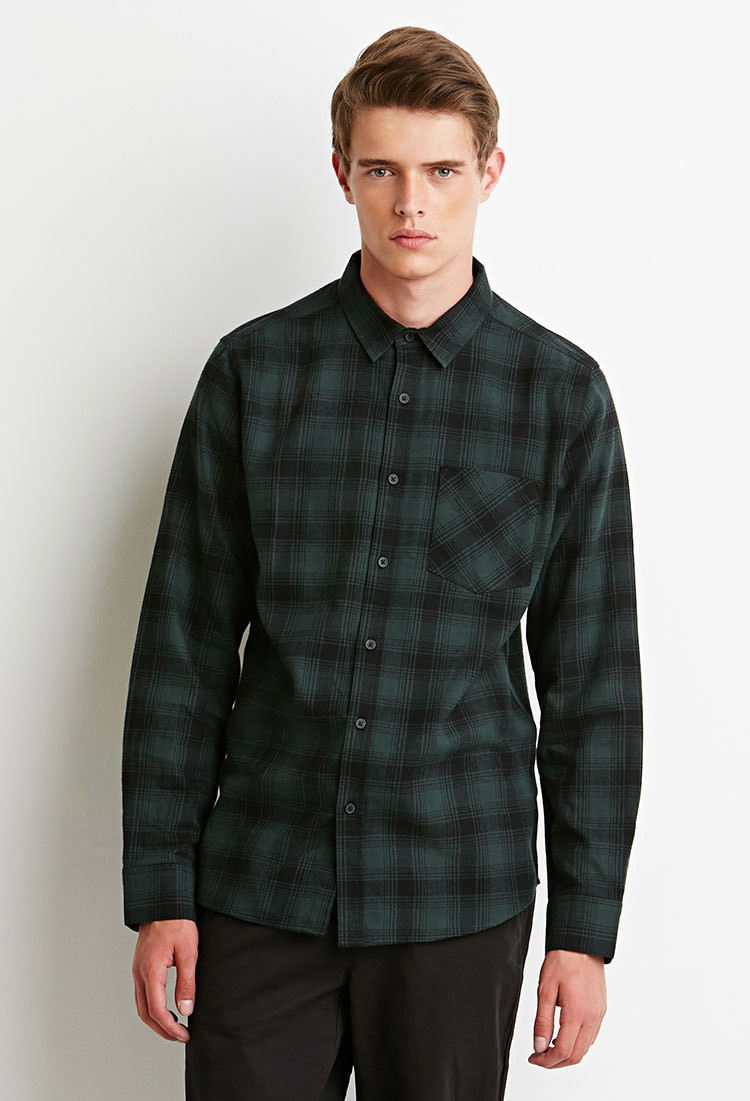Forever 21 green plaid flannel shirt for men lyst for Green and black plaid flannel shirt