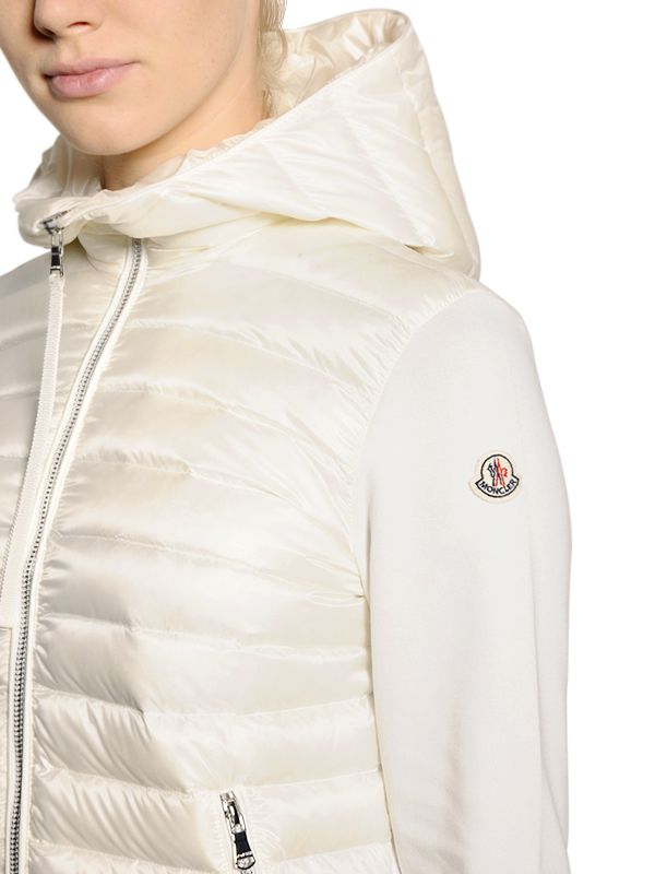 Moncler Quilted Nylon & Heavy Jersey Down Jacket in White | Lyst