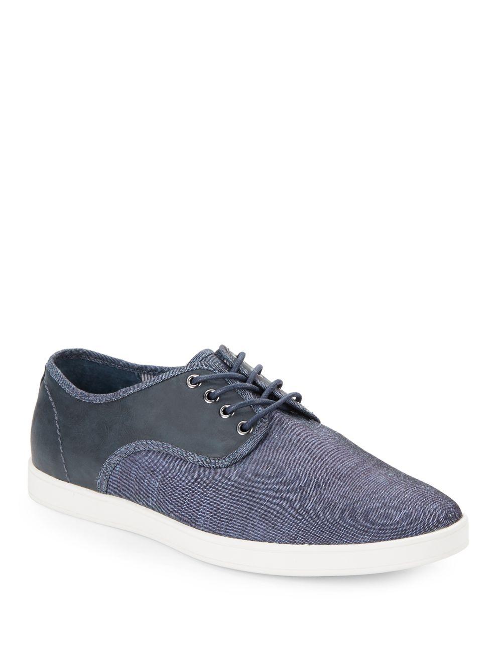 saks fifth avenue darren mixed media sneakers in blue lyst