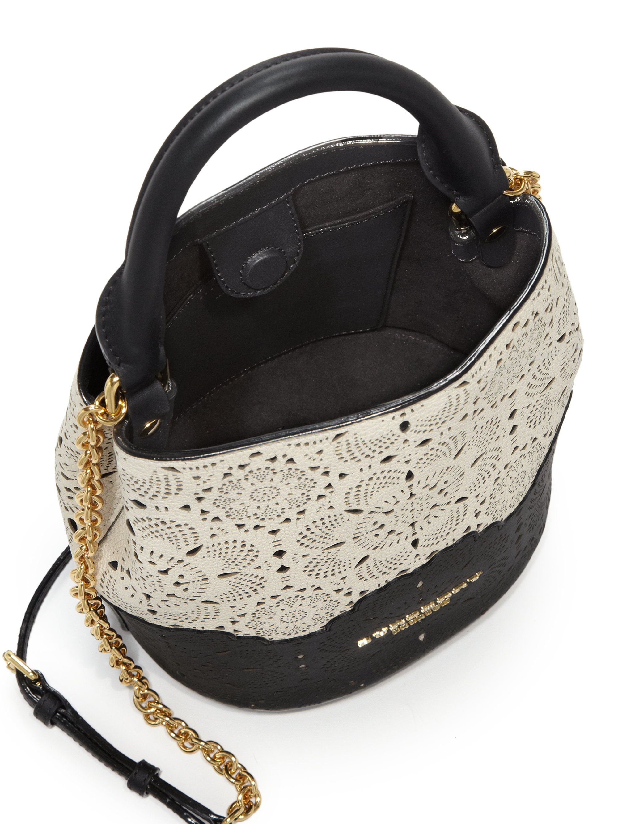 Burberry Small Two Tone Laser Cut Leather Bucket Bag In