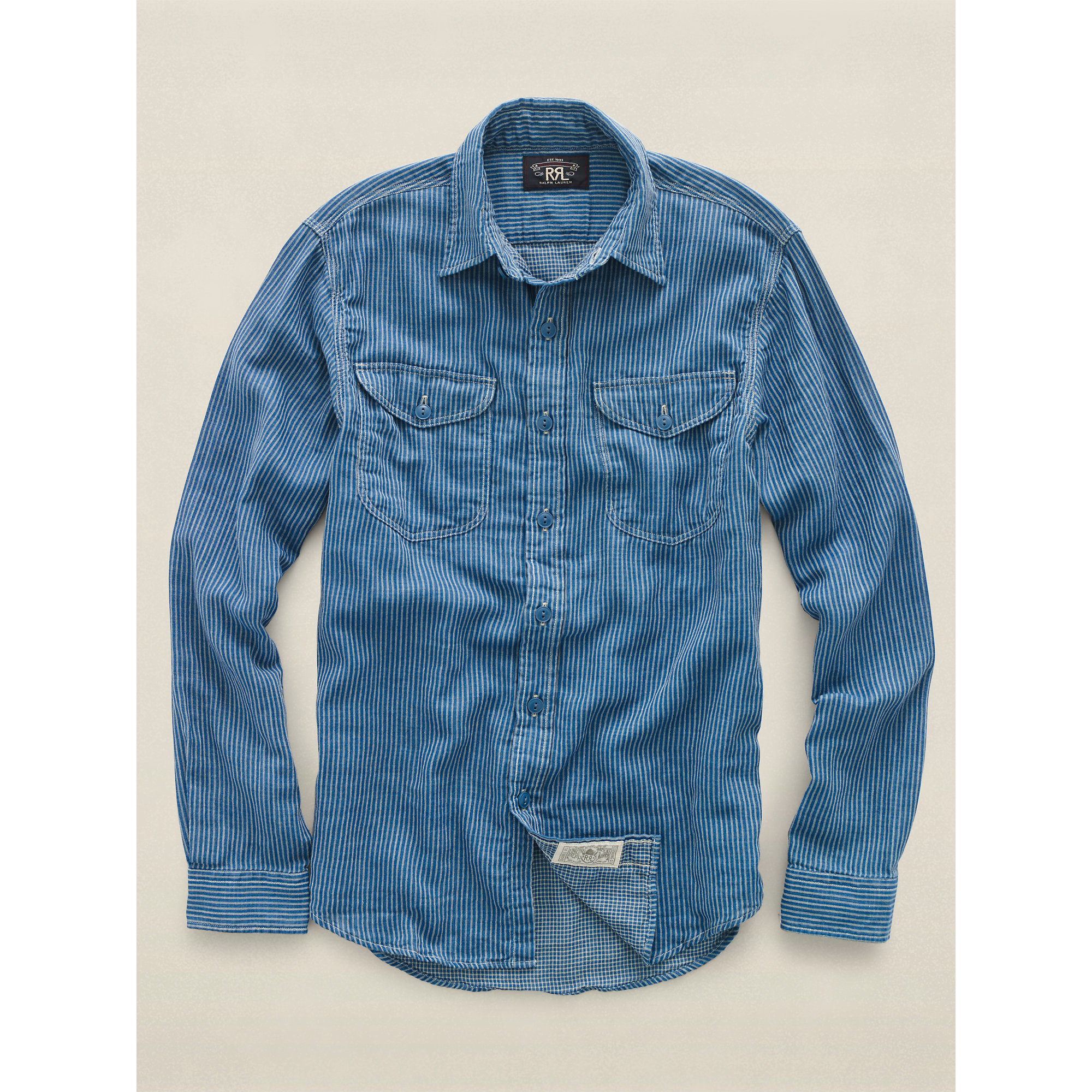 Rrl striped cotton workshirt in blue for men lyst for Blue cotton work shirts