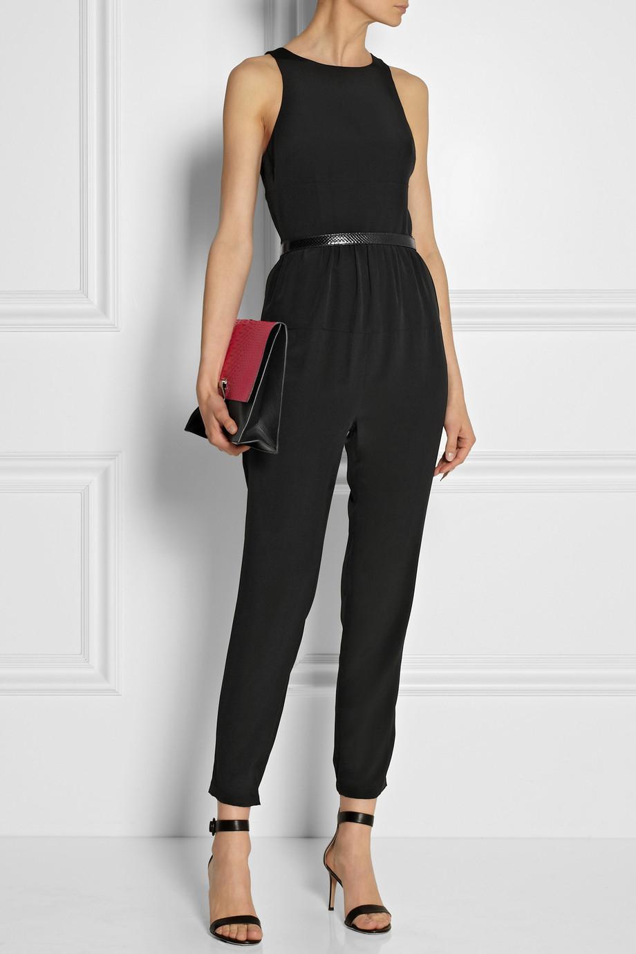 lyst tibi open back silk crepe de chine jumpsuit in black. Black Bedroom Furniture Sets. Home Design Ideas