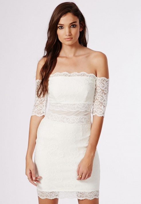 10aaf6b6ccb Lyst - Missguided Kate Lace Bardot Midi Dress White in White