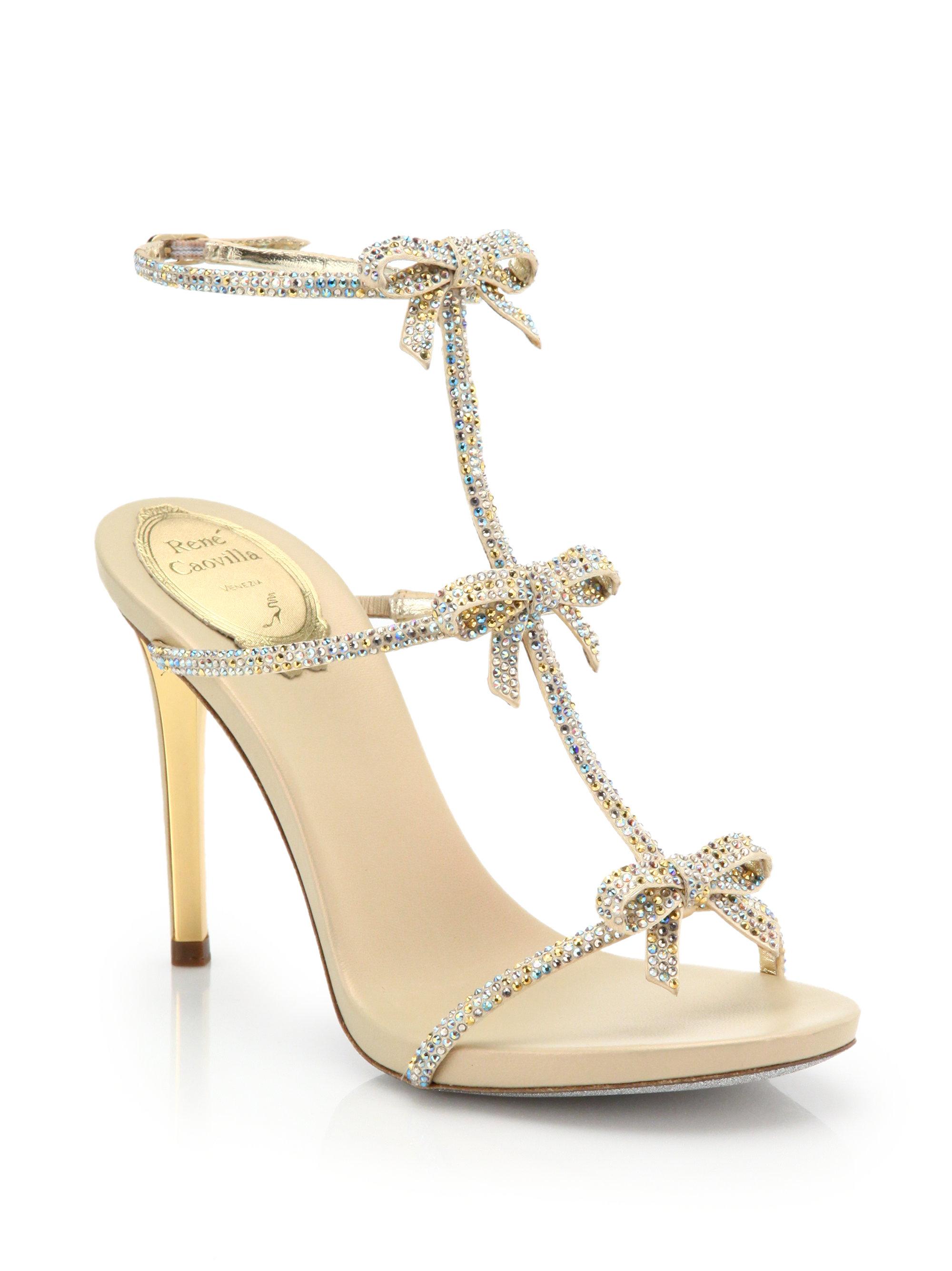 e337c4cd12b Lyst - Rene Caovilla Strass Swarovski Crystal Bow Sandals in Metallic