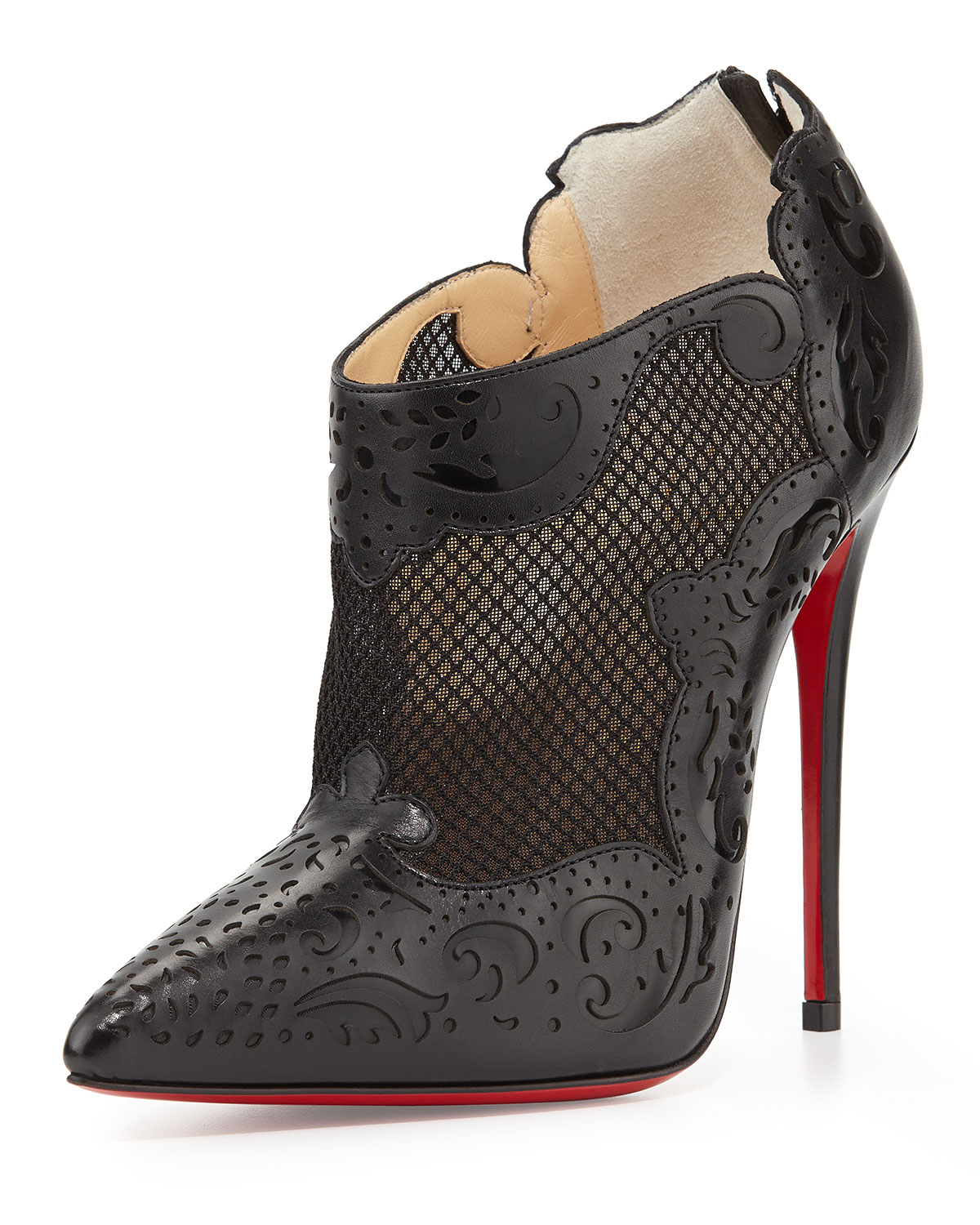 Christian louboutin Mandolina Laser-Cut Mesh Red Sole Bootie in ...