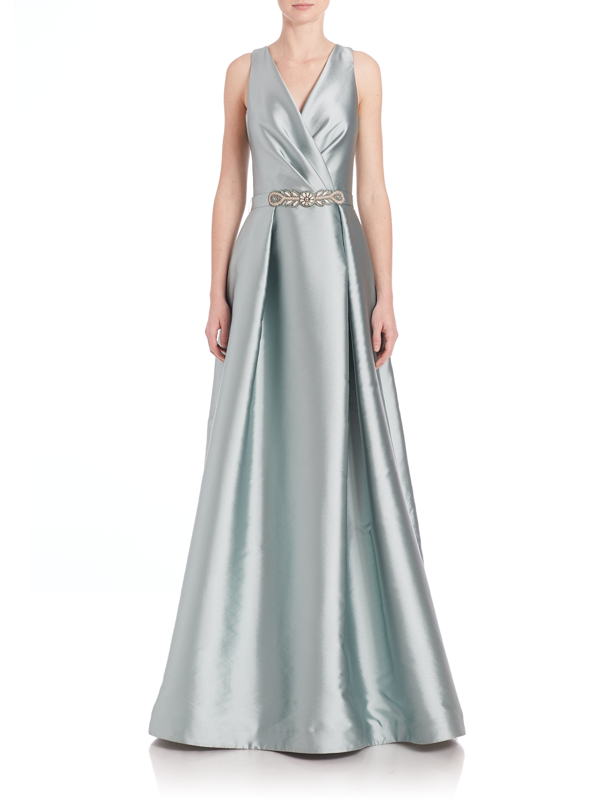 Lyst - Teri Jon Beaded Waist V-neck Gown in Gray