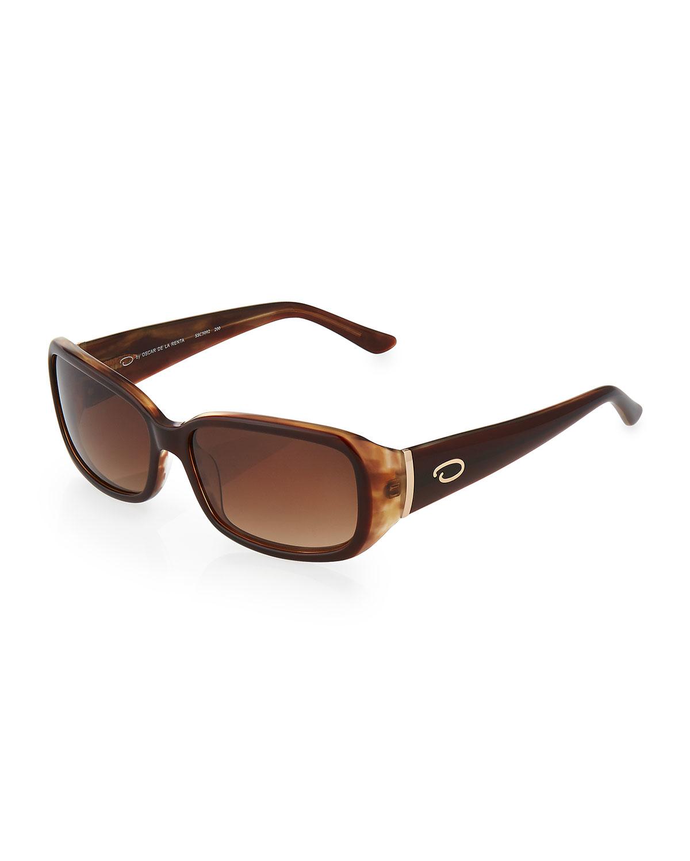 O By Oscar De La Renta Basic Rectangle Plastic Sunglasses
