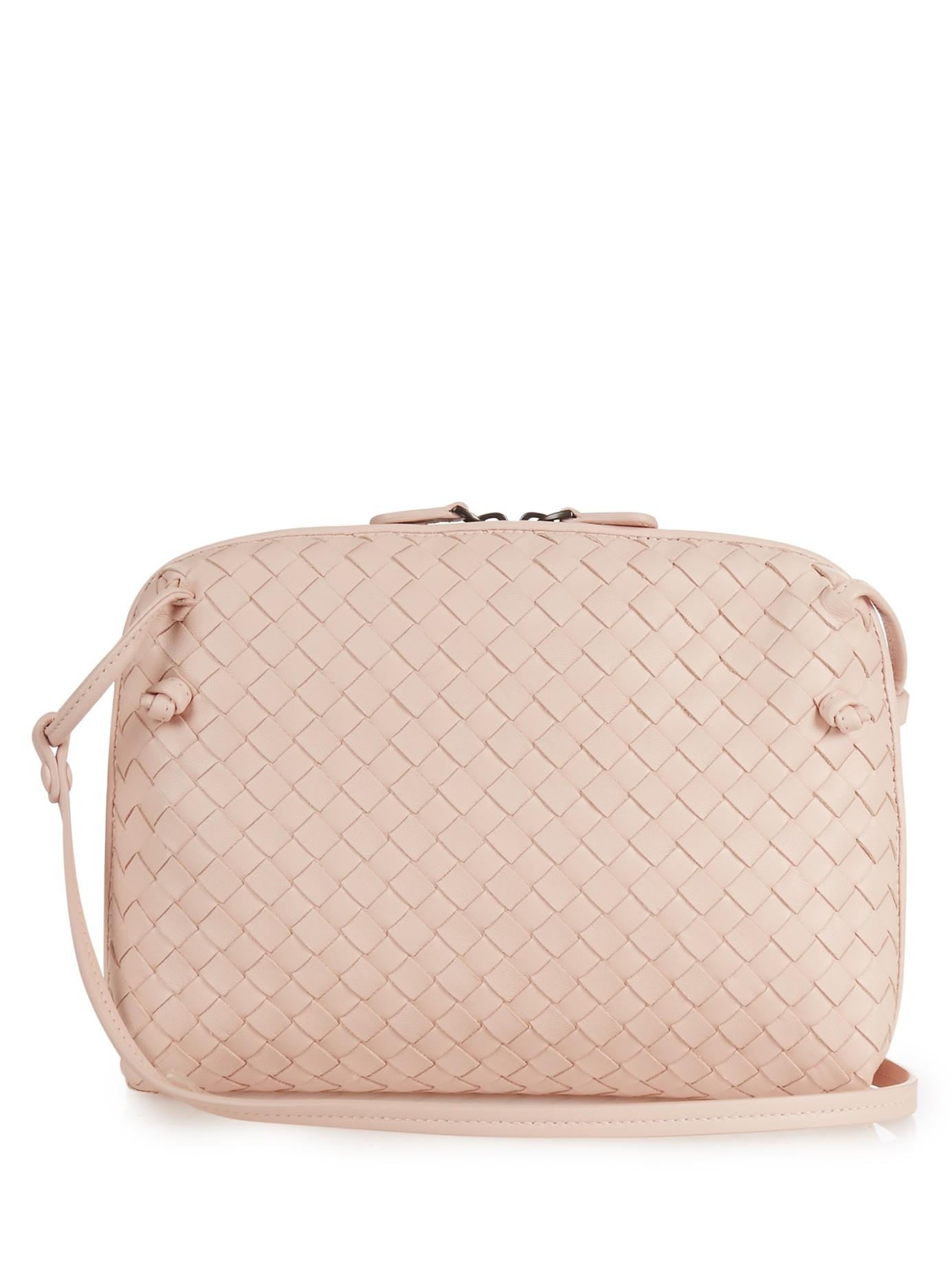 e3cd920495 Bottega Veneta Nodini Intrecciato Leather Cross-body Bag in Pink - Lyst