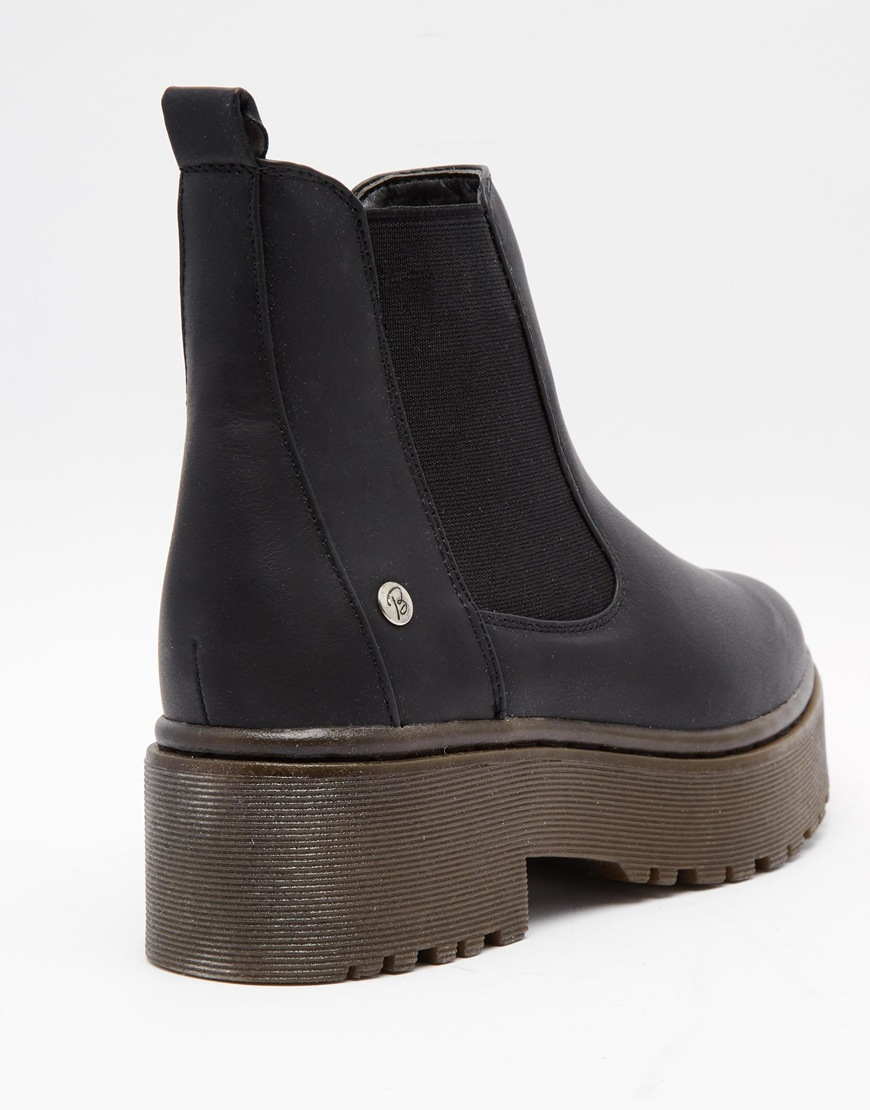 Blink Black Chunky Gum Sole Chelsea Boots in Black | Lyst