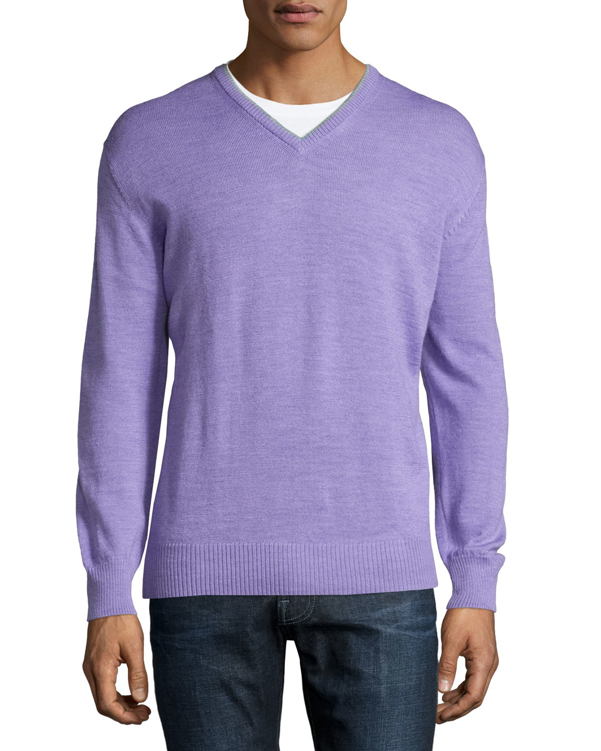 Ike behar Lilac V-neck Sweater in Purple for Men | Lyst
