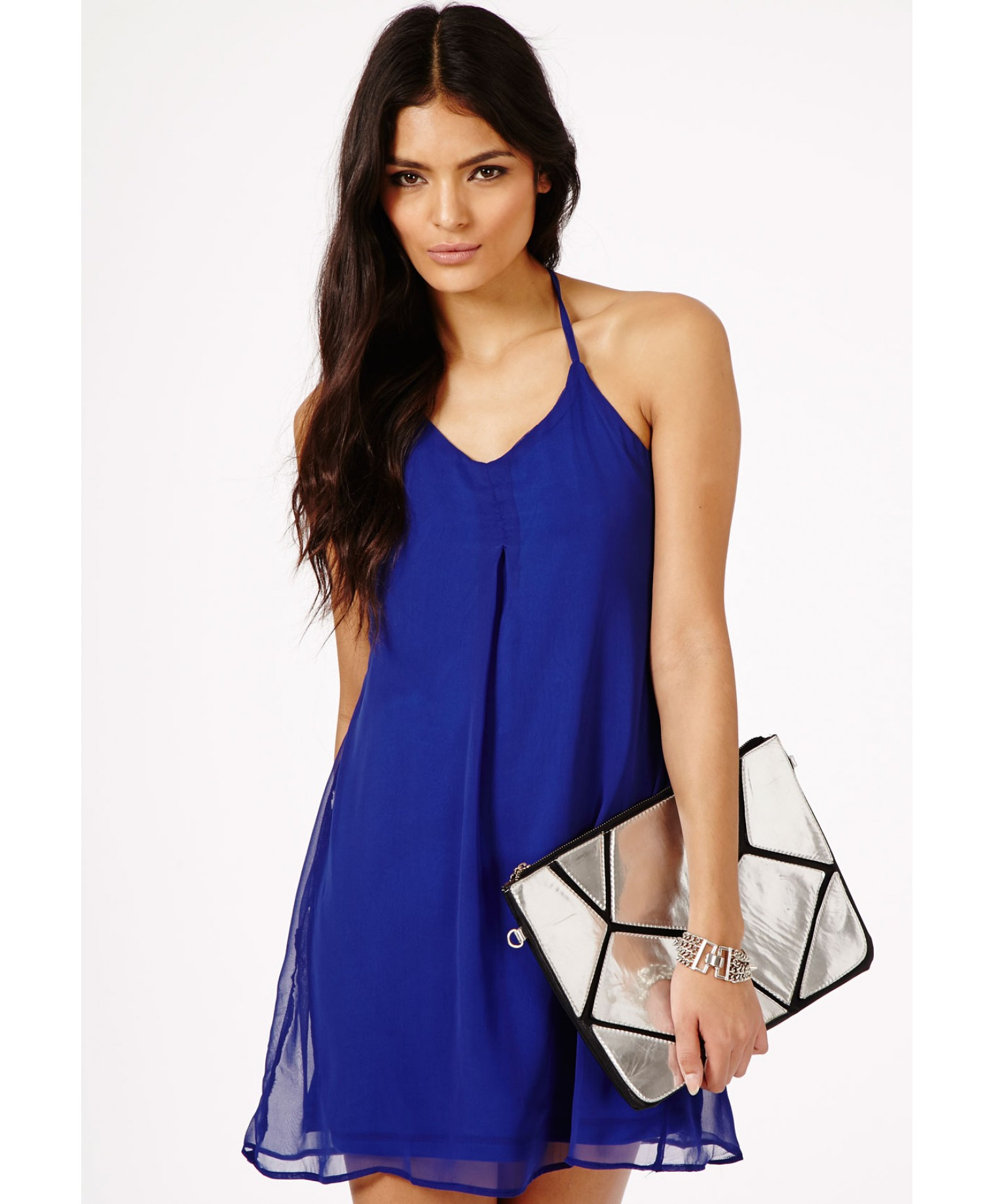ce4901d5399f1 Lyst - Missguided Amaka Halterneck Strappy Swing Dress in Cobalt ...