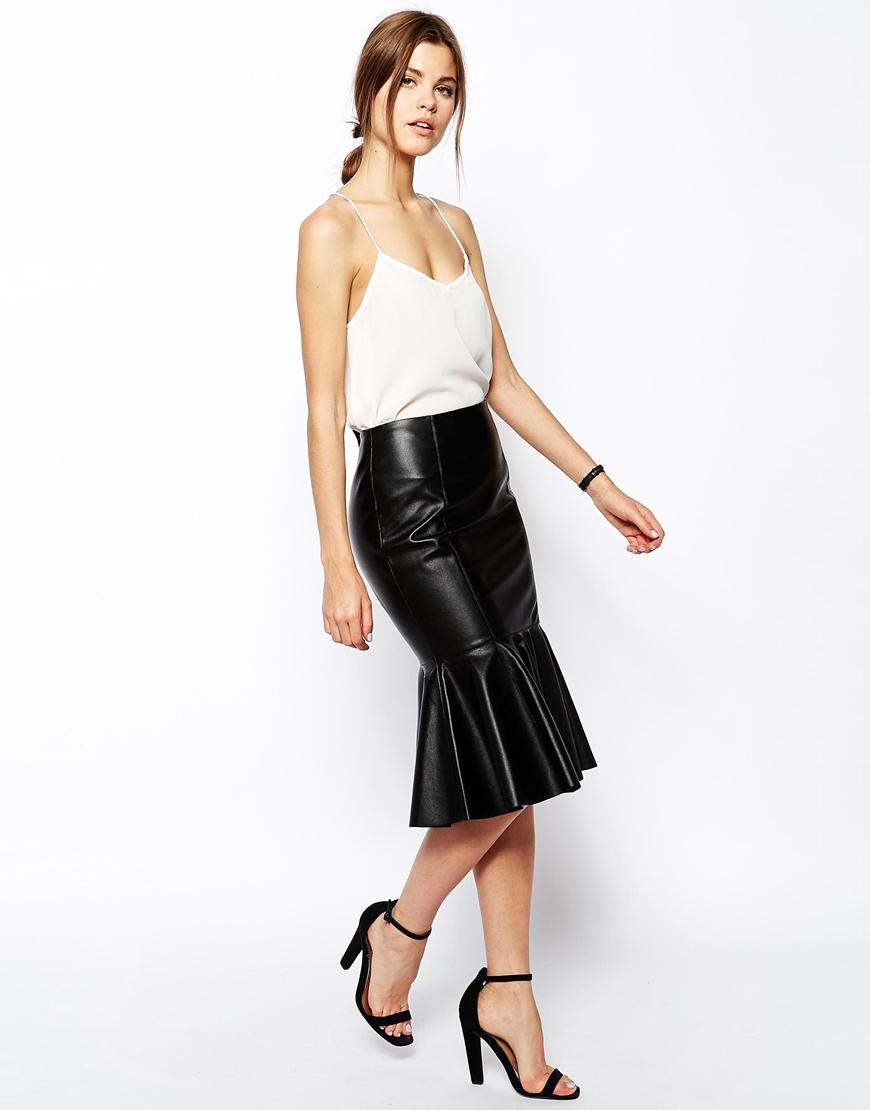 Asos Peplum Hem Pencil Skirt in Leather Look in Black | Lyst