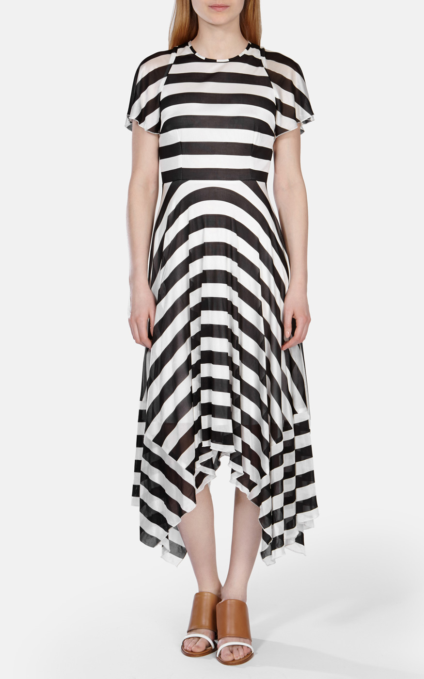 c02dcb5edb4 Karen Millen Draped Bold Stripe Jersey Dress in Black - Lyst