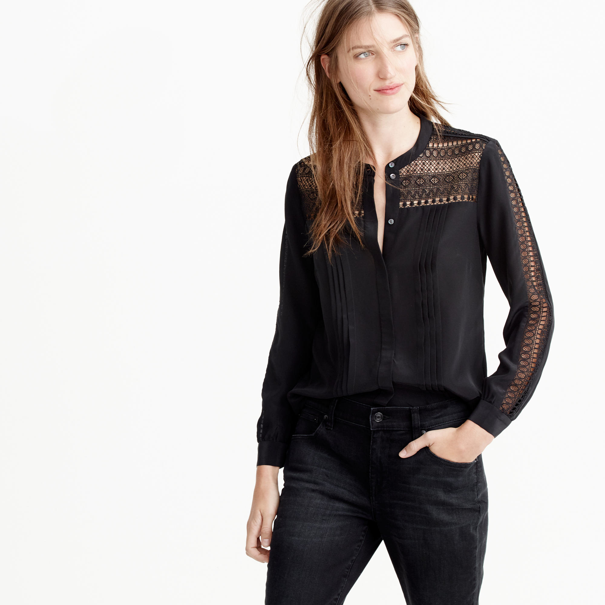 Lyst - J.Crew Collection Silk And Lace Blouse in Black 91fab7cda4