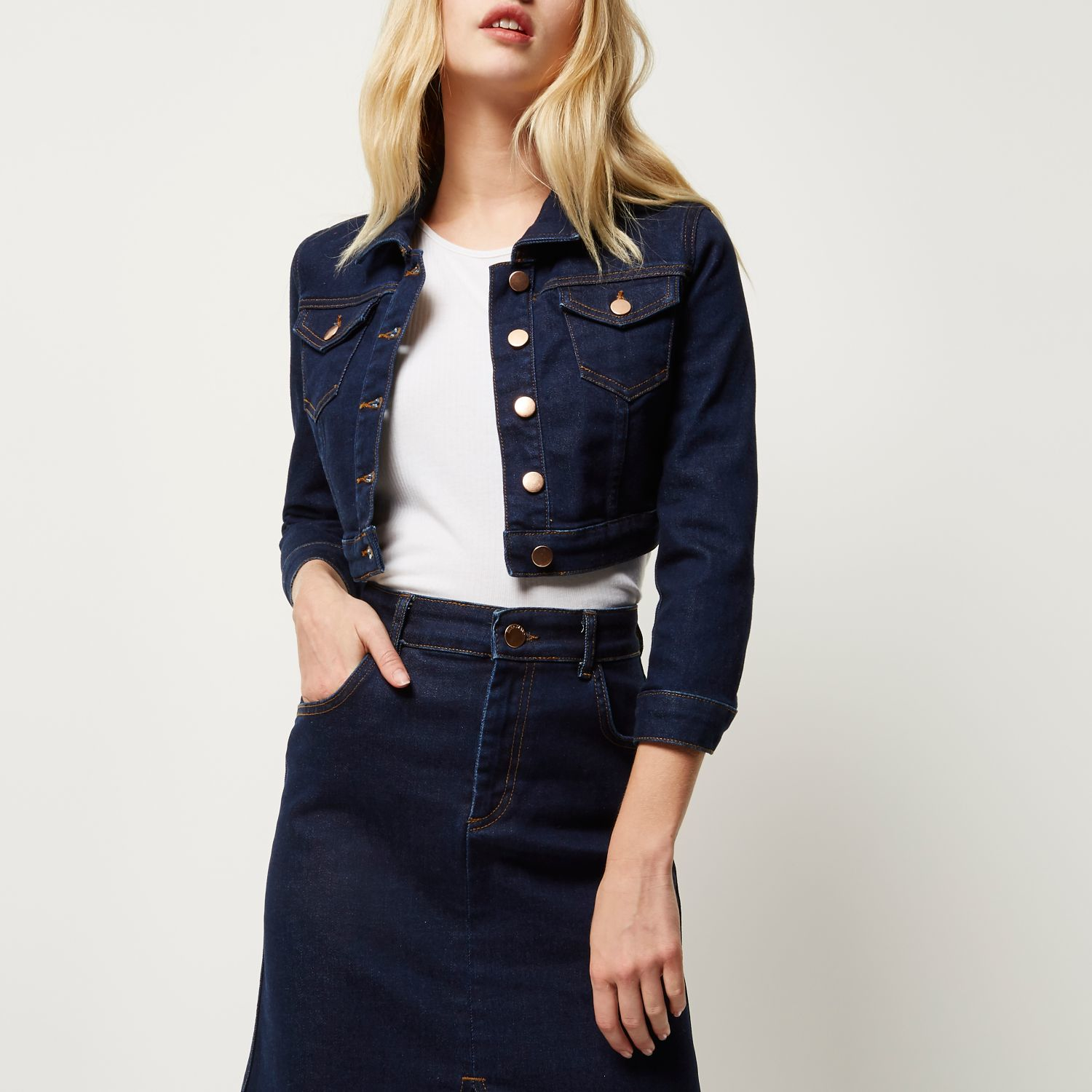 Cropped Dark Denim Jacket - Best Jacket 2017