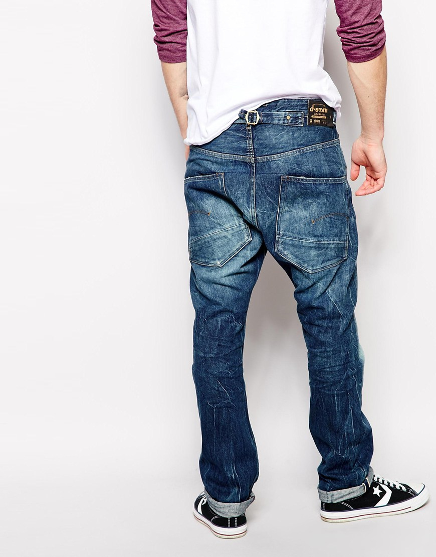 star raw g star jeans low tapered fit red listed selvage in blue for. Black Bedroom Furniture Sets. Home Design Ideas